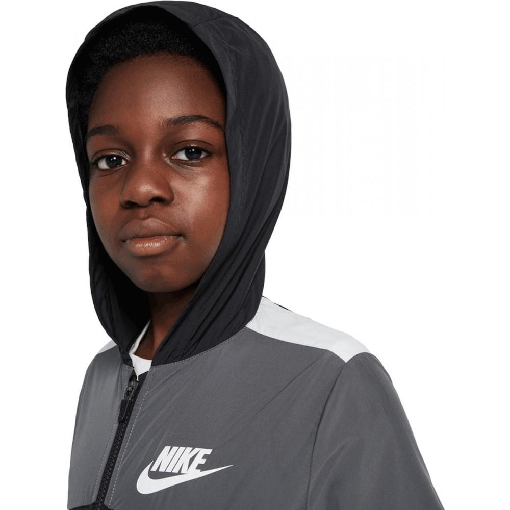 Nike Sportswear Παιδικό Αντιανεμικό Μπουφάν γκρί DD8701-010