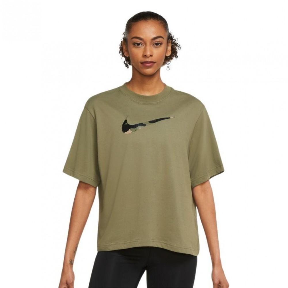 Nike Γυναικεία Μπλούζα Κοντό Μανίκι Λαδί DJ1745-222